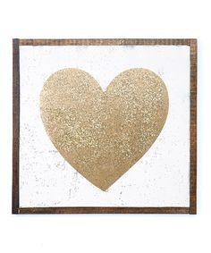 'Gold Glitter Heart' Sign #zulily #zulilyfinds