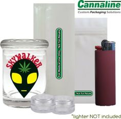"""Skywalker"" Stash Jar Bundle by Cannaline. $8.99. Glass Airtight Stash Jar for 1/8oz (3""x2""). 2 concentrate containers. Pre-Roll and Gram Smell Proof Bags. Cannaline is the premier packaging supplier to the MMJ industry. All Cannaline products are custom designed and manufactured to the highest quality standards.  Until now, we have only sold in wholesale lots, but due to unprecedented demand we are now offering single stash jars.    Our stash jars, bags and concentrate contain..."