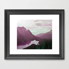Velvet Peak Framed Art Print #mountains, #peak, #landscape, #snow, #water, #beach, #photo, #digital, #velvet