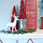 Red and White Christmas Mantel