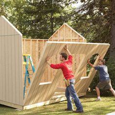 How to Build a Shed on the Cheap (DIY) | Family Handyman Cheap Storage Sheds, Shed Storage, Storage Ideas, Building A Storage Shed, Building A Deck, House Building, Building Ideas, Building Design, Build Your Own Shed