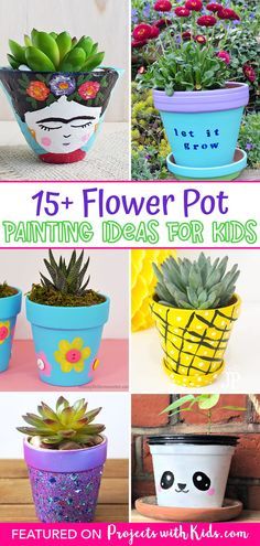 Fun and creative flower pot painting ideas kids of all ages can make. A great spring craft and handmade gift idea! Spring Arts And Crafts, Spring Art Projects, Craft Projects For Kids, Crafts For Kids To Make, Kids Crafts, Craft Ideas, Panda Painting, Painting For Kids, Flower Pot Crafts