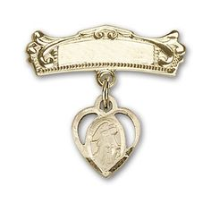ReligiousObsessions 14K Gold Baby Badge with Guardian Angel Charm and Arched Polished Badge Pin >>> Check out the image by visiting the link.