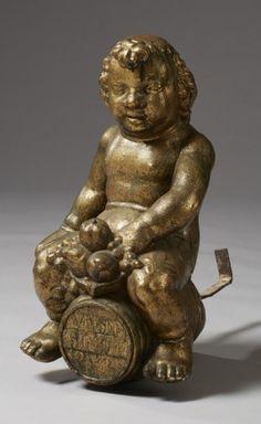 A 17th century Bacchus sculpture (bronzed stone), from Stockholm, Sweden. Skulptur i form av Bacchus på tunnan 1600-tal. Utförd av Marcus Hebel, bildhuggare verksam i Stockholm från 1630-talets slut (död 1664). Skulpterad och bronserad sandsten. H 59 cm, totallängd (inklusive smidesjärn) c:a 60 cm, exklusive staget c:a 36 cm. Proveniens: Jacob de la Gardie (1583-1652), Palatset Makalös, Stockholm.
