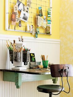 Love this wire hanger for photos, memorabilia etc. & the hanging shelf for desk