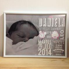Láminas decorativas: natalicios con los datos del nacimiento de un bebé