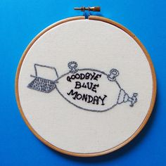 Goodbye blue Monday - hand embroidered Kurt Vonnegut illustration by littlesasquatch on Etsy