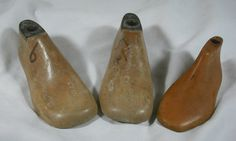 Lot of 3 Antique Child size Shoe Lasts Cobbler Molds Wooden Vintage Forms Tools