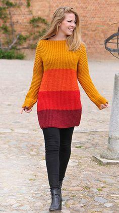 Cardigan i striber Knitting Yarn, Free Knitting, Chunky Yarn, Knit Patterns, Crochet Clothes, Knit Dress, Pretty Dresses, Dress Making, Pullover