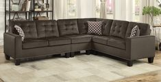 """Homelegance 9957CH-SC 2 pc Winston porter lantana chocolate fabric reversible sectional sofa set. Sectional measures 84"""" x 107"""" x 35"""" H. Some assembly required."""
