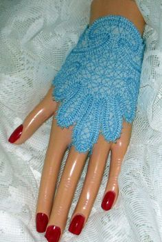 Lace Fingerless Wedding Bridal Gloves Blue Lace by joyspecialties, $26.96