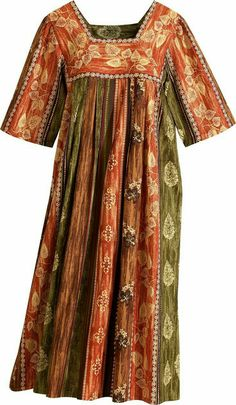 Falling Leaves MuuMuu from Vermont Country Store African Party Dresses, African Dress, Pakistani Dresses Casual, Pakistani Dress Design, Tiki Dress, Kurta Neck Design, Muumuu, Dress Neck Designs, Looks Plus Size