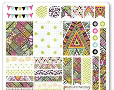 Geometric Weekly Spread Planner Stickers for Erin por PlannerPenny