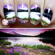 Wide open landscape nail art! #piggieluv #NailART - bellashoot.com