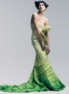 green fashion, dress