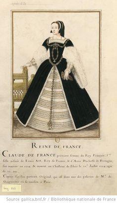 [Portrait de princesse représentée en pied. Elle porte le chaperon à templette, une robe foncée fourrée de blanc. Sur la poitrine et le devant de la jupe, des joyaux] : [dessin] -  Claude de FRance reine de France