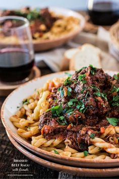 Braised Beef Ragu with Gemelli   www.oliviascuisine.com   A classic Italian dish that is perfect for the cold weather. Comforting, hearty, delicious and easy to make!