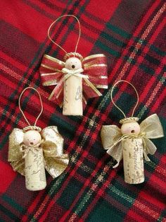 wine cork, wood bead, ribbon, string, hot glue stick and glue gun