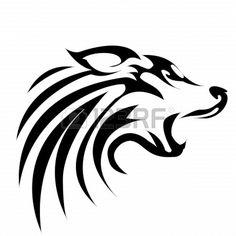 Tribal wolf Wolf Tattoo Design, Tribal Wolf, Tribal Art, Wolf Outline, Tribal Animal Tattoos, Baby Memorial Tattoos, Airbrush Tattoo, Nature Sketch, Viking Symbols