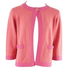 Chanel Salmon and Pink Trim Cashmere Sweater - 42 - 07P