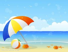 Blissful Summer - Vector illustraitons of Summer Scene  - Vector Beach - Beach Umbrella, beach ball and Crabs 3