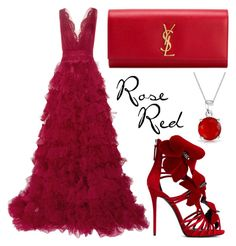 """Rose Red"" by missloulouxx ❤ liked on Polyvore featuring Marchesa, Giuseppe Zanotti, Yves Saint Laurent, Bling Jewelry, women's clothing, women's fashion, women, female, woman and misses"