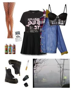 """""""Grunge"""" by dolliah on Polyvore featuring WithChic, Madewell, Dr. Martens and I.D. SARRIERI"""