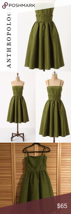 """Anthropologie Maeve Olive Button Belted Dress Tulle-flounced skirt on Maeve's crisp, silk-cotton frock puts an extra swing in your step, whether you wear it buttoned as a dress, or undone as a separate. Removable, adjustable straps Side pockets; Side zip Cotton, silk; polyester lining; Dry clean Size 6. 35""""L, Waist 14.5"""" across, bust ~16 across and would fit a B-D cup.  Style No. 23144546  Hardly worn, minor pilling on the lining around the hips. Smoke-free 🚫🚬; dog-friendly 🐶❤️ home. I…"""