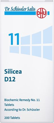 DHU Dr. Schuessler salts - Schüssler salt no 11 - Silicea, Silicea helps to maintain the elasticity and firmness of hair and nails. It is helpful e.g. in case of brittle hair and nails, hair loss or irregular nail growth. Silicea strengthens the skin and connective tissue by enhancing the elasticity.