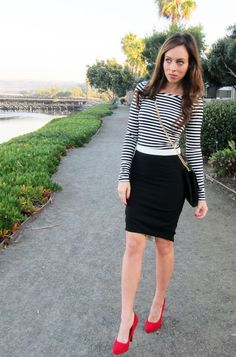 A black and white stripe tee adds a sporty element to pencil skirts .. (The the red pumps)