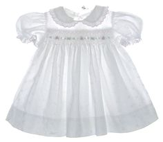 Polly Flinders White Eyelet Smocked Toddler Dress with Pink Rosebud Embroidery $50.00 #PollyFlindersDress