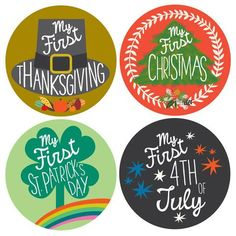 My First Holiday Photo Tummy Stickers