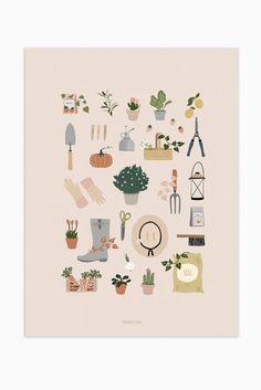 Modern gardening print, gardening wall art, gardener gift in 2019 Illustration Inspiration, Garden Illustration, Brain Illustration, Garden Wall Art, Art Vintage, Hand Sketch, Plant Art, Garden Gifts, Illustrations