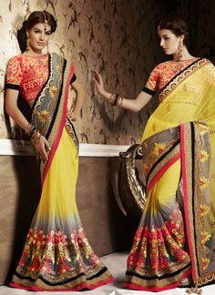 Grey & Yellow Soft Net  Party Wear Saree