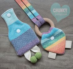 Wrap Scrap Double Rainbow Teether and Lanyard by ChunkyPotatoes, $27.00