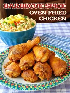 Barbecue Spice Oven Fried Chicken - Crispy oven fried chicken that uses a wonderfully flavourful barbecue spice dry rub to flavour the chicken coating.