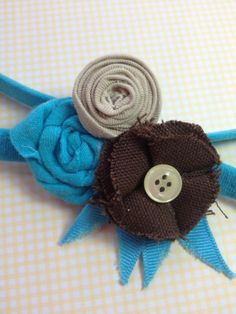 teal and brown cotton headband    $4.00 USD
