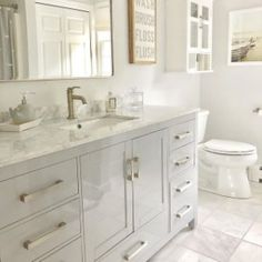 Bathroom tips, bathroom remodel, master bathroom decor and bathroom organization! Master Bathrooms may be beautiful too! From claw-foot tubs to shiny fixtures, these are the master bathroom that inspire me the essential. Grey Bathrooms, White Bathroom, Modern Bathroom, Bathroom Ideas, Master Bathrooms, Bath Ideas, Bathroom Renovations, Bathroom Designs, Bathroom Inspiration