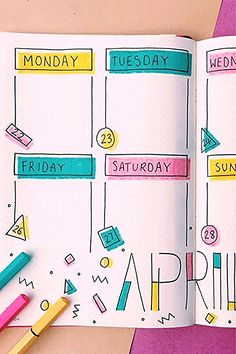 How fun is this April weekly spread? Check out the rest of these adorable ideas for inspiration! point journal ideas fun 20 Adorable April Weekly Spreads For Bullet Journal Addicts - Crazy Laura Bullet Journal School, Bullet Journal Writing, Bullet Journal Headers, Bullet Journal Month, Bullet Journal Banner, Bullet Journal Aesthetic, Bullet Journal Ideas Pages, Bullet Journals, Best Bullet Journal Pens