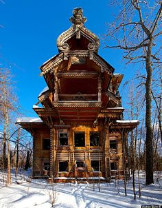 Beautiful abandoned house in Russia.  What makes a person abandon a beautiful house like this ?