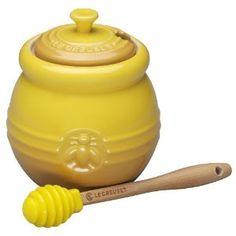Le Creuset Steinzeug Honigtopf mit Silikonlöffel, senfgelb