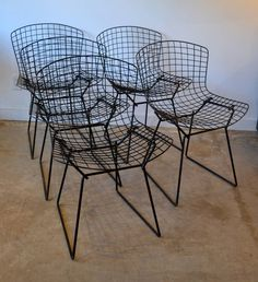 Harry Bertoia Black Wire Chairs Produced by Knoll image 2 Harry Bertoia, Wire Chair, Mcm Furniture, Chair Design, Dining Rooms, Chairs, Patio, Image, Black