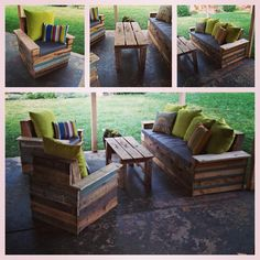 Husband built these from pallets and old fence boards!