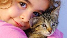 خلفية بنت مع قطة