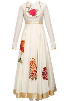 Beautiful chanderi anarkali....find the latest collection at pernia popupshop Indian Attire, Indian Wear, Kurta Designs, Blouse Designs, Indian Dresses, Indian Outfits, Moda India, Anarkali Dress, White Anarkali