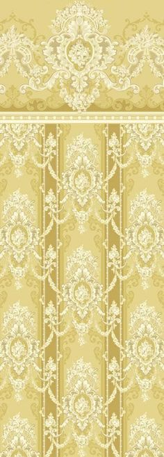gold & cream fancy wallpaper with boarder