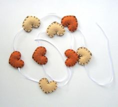 Autumn Harvest Heart Garland, 4ft: Pumpkin Spice And Yellow, Halloween, Thanksgiving, Festive, Handmade Home Decor