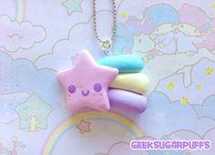 Polymer Clay Kawaii Pastel Pink Shooting Star Necklace