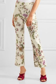 Giambattista Valli - Cropped Satin-trimmed Printed Crepe Flared Pants - Cream - IT46