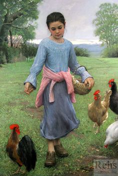 Girl Feeding Her Chickens - Allan R. Banks